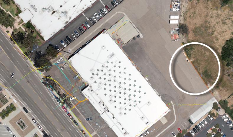 Distinct utilites in back parking lots