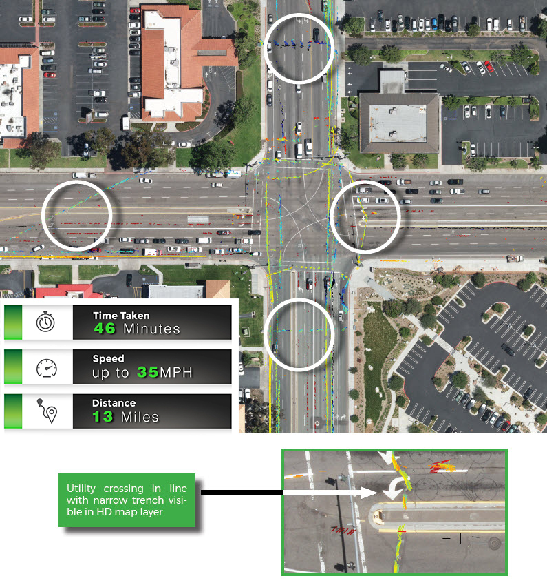 Green caption: Utility crossing in line with narrow trench visible in HD map layer.